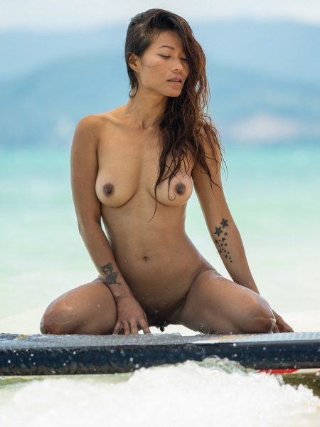 Maki Katana in Catching A Wave nude for Playboy