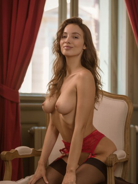Calypso Muse in Bright Red nude for Playboy